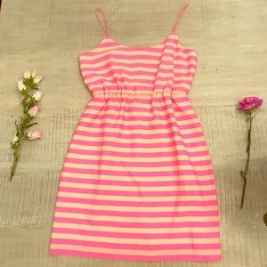 J. Crew Beige and Neon Pink Spaghetti Strap Dress